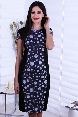 Стилна дамска рокля с дантела и пайети 8738
