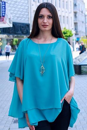 Елегантна едноцветна дамска блуза с подарък аксесоар 9050