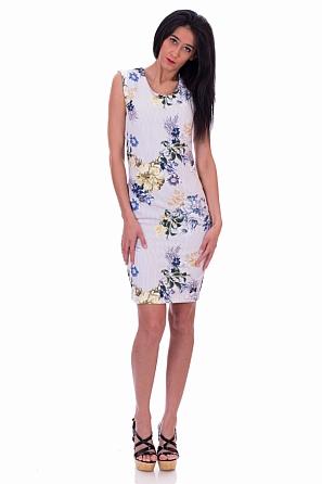 Елегантна рокля с флорални мотиви и райе
