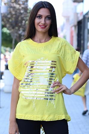 Памучна дамска блуза с шевици, щампа и издължена задна част 8459