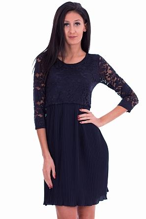 Елегантна рокля с дантелена горна и солей долна част 8239