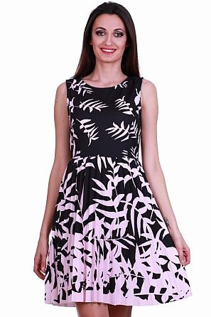 Разкроена дамска рокля солей и флорални мотиви 8359