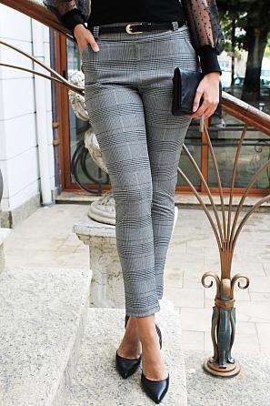Стилен дамски панталон едро каре 88262