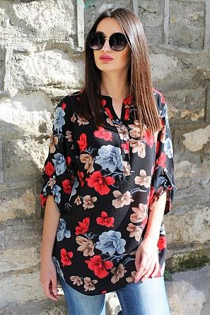 Красива дамска блуза на цветя с къси ръкави 9034