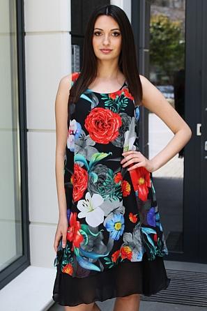 Стилна шифонена дамска рокля на цветни мотиви 9084
