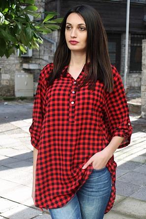Ежедневна дамска блуза на средно каре с къс ръкав 90335