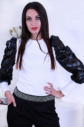 Красива дамска блуза с ръкави с ефектни кожени акценти 8634