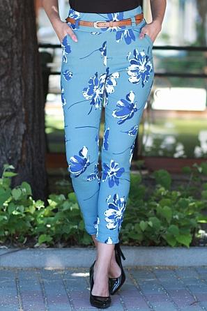 Стилен еластичен дамски панталон на цветя 8772