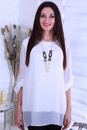 Дамска шифонена блуза с лъскава нишка 8718