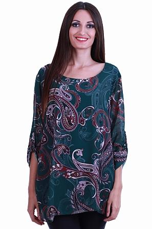 Шифонена блуза с шарки и навиващи се ръкави 8540