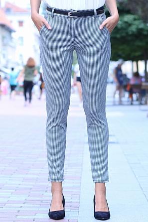 Дамски панталон пепит с подарък колан 8506