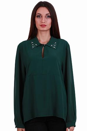 Шифонена блуза с метални акценти и издължена задна част 8244