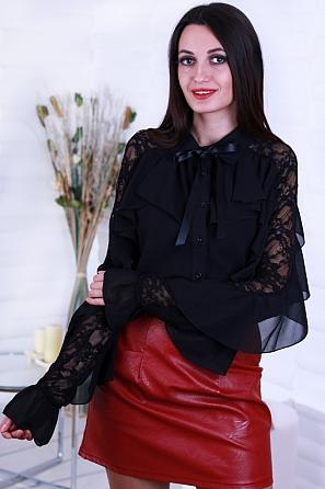 Луксозна шифонена риза с красиви дантелени ръкави 8635