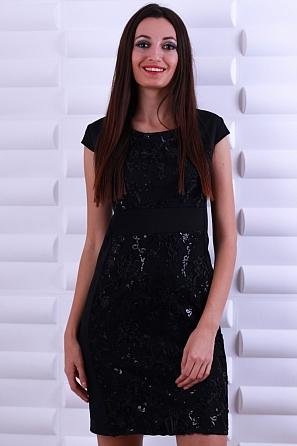 Луксозна рокля с бродерия цветя, пайети и къс ръкав 8595