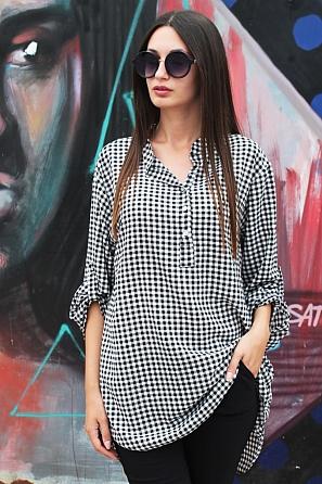 Ежедневна дамска блуза на дребно каре с дълъг ръкав 88031