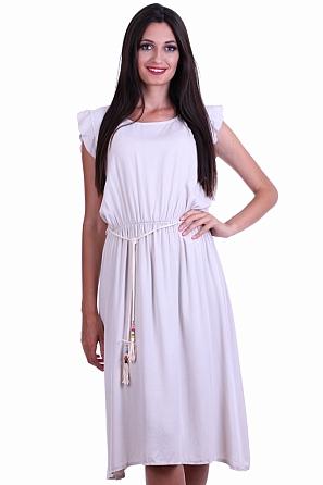 Елегантна едноцветна дамска рокля с връзки 8470