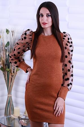 Стилна дамска рокля с дантелени буфан ръкави с големи точки 8646