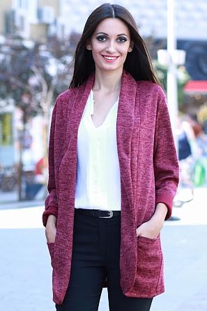 Едноцветна дамска жилетка с джобове 8543