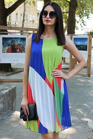 Шифонена дамска рокля солей няколко цвята 90685