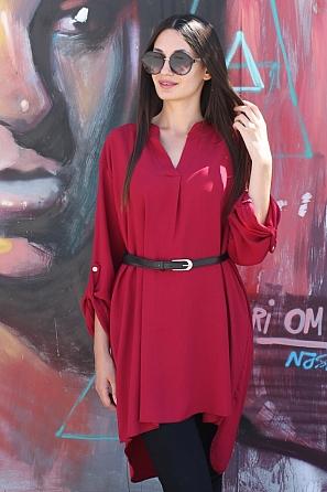 Елегантна дамска блуза/туника с издължена задна част и колан 8804