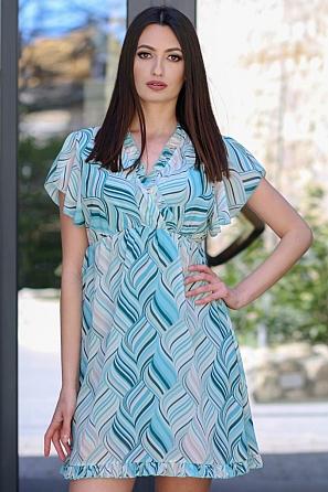 Дамска рокля с V-образно деколте и волани 9077