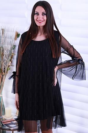 Ефектна рокля с щампа черти и ръкави с панделка 86442