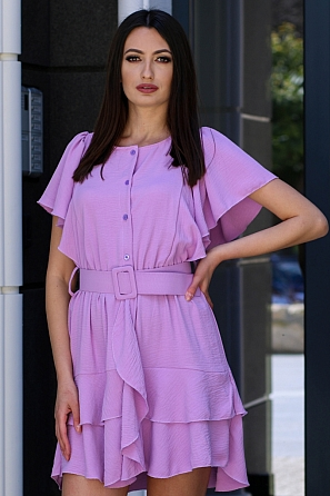 Стилна дамска рокля с колан и ефектни волани 9080