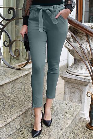 Едноцветен дамски панталон с панделка 9004