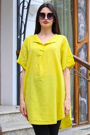 Памучна едноцветна дамска блуза/туника с къси ръкави 9048