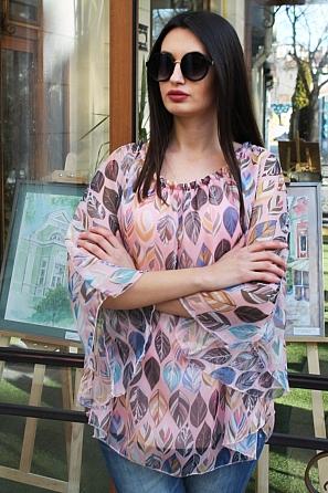 Шифонена дамска блуза на листа с ефектен ръкав 9030