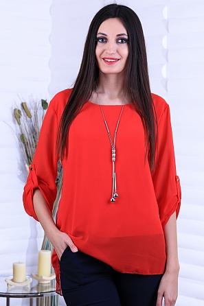 Елегантна шифонена дамска блуза с дантела на гърба 8729