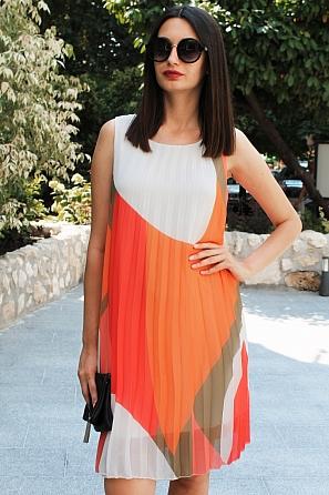Шифонена дамска рокля солей няколко цвята 90682