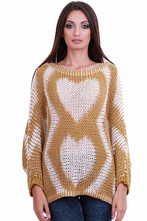 Стилен дамски пуловер на сърца 8204