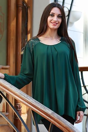 Шифонена блуза с бижу и ефектна дантела 8571