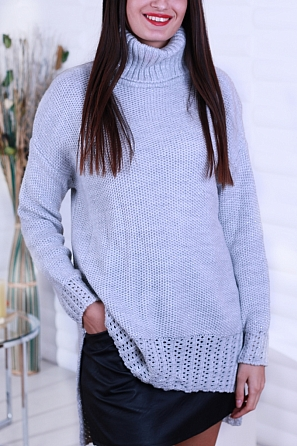 Стилен дамски ламе пуловер с поло яка 8251