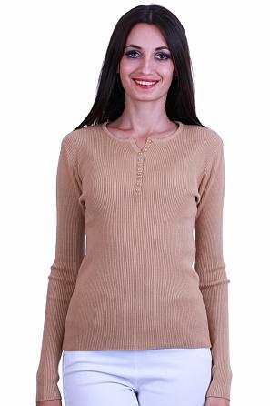 Дамски пуловер фино плетиво с V-образно деколте с копчета 8523