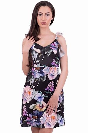 Интересна рокля с волани по деколтето и панделка на гърба 79241