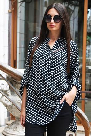 Ежедневна дамска блуза на големи точки с дълъг ръкав 88033