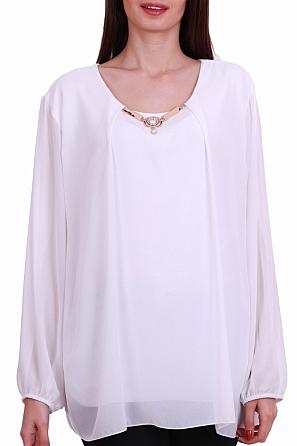 Шифонена дамска блуза с бижу на деколтето 8307