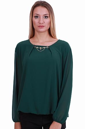 Шифонена дамска блуза с акцент бижу 8309