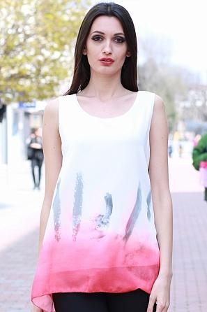 Стилна дамска блуза без ръкави с цветни мотиви 8391