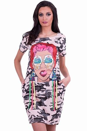 Дамска рокля с интересна модерна щампа 7914
