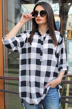 Ежедневна дамска блуза на едро каре с къс ръкав 90336