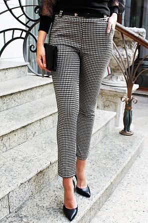 Стилен дамски панталон пепит 88261