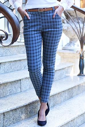 Елегантен дамски панталон на цветни карета 8816