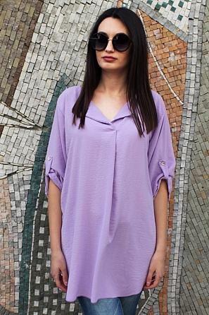 Стилна дамска блуза/туника с къси ръкави 9037