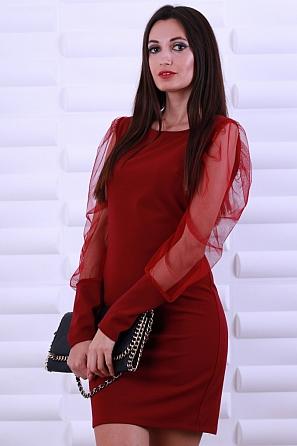 Едноцветна дамска рокля с дантелени ръкави 8597