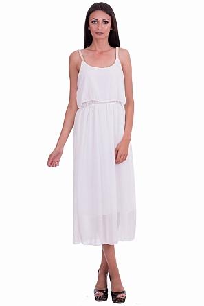 Елегантна дълга шифонена рокля с акцент на деколтето 8046