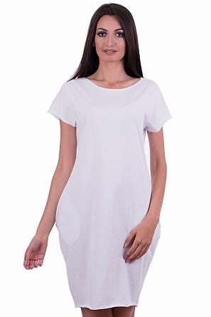 Памучна едноцветна свободна рокля с джобове 8000