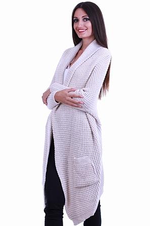Едноцветна асиметрична плетена дълга жилетка 8544